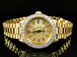 pre owned ladies 27 mm rolex president day date 18k yellow gold pre owned ladies 27 mm rolex president day date 18k yellow gold diamond watch