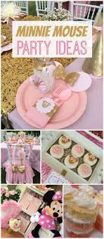 This party has Minnie Mouse, plus a pink and gold color scheme!