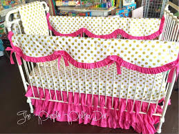 polka dots crib bedding scalloped rail cover hot pink gold dot crib bedding baby the purple