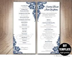 Wedding Program Designs Navy Blue Wedding Program Template Instant Download Microsoft Word