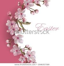 Spring Flower Template Spring Flower Circular Template Text Isolated Stock Illustration