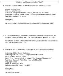Citation And Documentation Quiz 1 Create A Cita Cheggcom