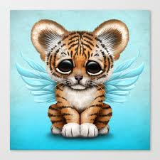 cute baby tiger. Brilliant Baby Cute Baby Tiger Cub With Fairy Wings On Blue Canvas Print And I