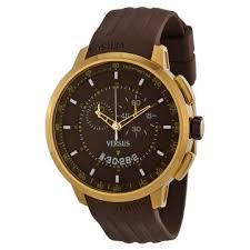 versus by versace watches jomashop versus by versace manhattan chronograph black dial brown rubber men s watch sgv060013