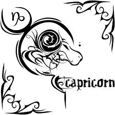 эскиз татухи знака зодиака козерог с надписью
