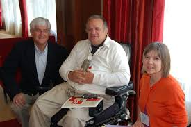 From left, Tom Martin, David and Edna Rhodes