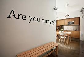 wall quotes vinyl letters for creative kitchen layout with wood cabinet and rectangular dining table