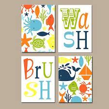 kids bathroom wall decor. Kids Bathroom Decor Sets Ocean Wall Art Canvas Or Prints Nautical Theme Wash Brush Rules Child R