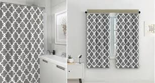 eve split geometric patterned water repellent fabric shower curtain window panel ds