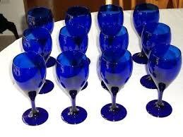 previous cobalt blue water glasses drink vintage wine