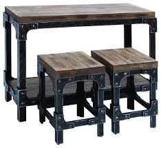 charming indoor bistro table set with distressed wood and metal 3 piece console table set