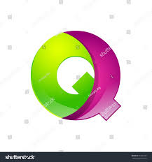 Q letter green and pink logo design template elements an icon for  application company.