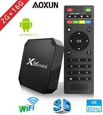 Smart TV Box con Quad Core X96 MINI Android 7.1 TV Box Amlogic S905W 2G RAM  16GB ROM H.265 64 Bit WiFi Bluetooth 4.1 Da Aoxun Android TV Box Media  Streaming Devices