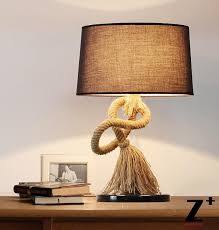 country style american table lamp mesalamps hand made linen rope lamp led bedroom abajur