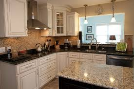 granite kitchen countertops with white cabinets. Kitchen:Granite Countertops Kitchen Design Nice White Shaker Cabinets And Incorporates Black Gloss Granite With A