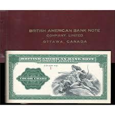Color Charts Rare British American Banknote Company