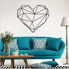 Small Picture 5749cm Creative Geometric Heart Shape Wall Stickers Home