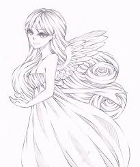 Angel Sketch Original Anime Style 8 5x11 Drawing Angel Sketch