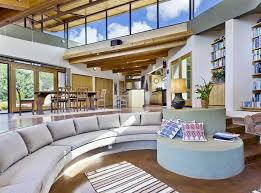 contemporary sunken living room with large sectional couch