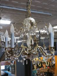 vintage antique brass and crystal 5 arm chandelier c 1950 295