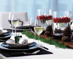 winter holiday table centerpieces with green branches