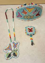American Indian Necklace Designs 3pc Cut Beaded Flower Design Native American Indian Crown