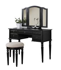 vanity table with mirror and drawers. vintage oak makeup vanity table painted with black color 5 drawer and 3 fold mirror sets round stool white fabric cover ideas drawers e