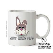 office mug. Personalised Bunny Head Mug CARTOON Kids Adult Gift Office Funny Humour