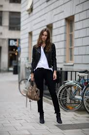 zara ine blomst in a black leather jacket from rika