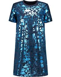 Markus Lupfer Millie Metallic Printed Cotton Dress Navy Damen ...