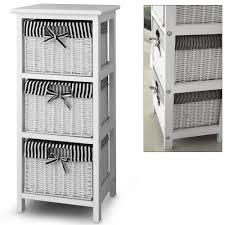 Wicker Basket Cabinet 3 Drawer Storage Cabinet With 3 Baskets Shelf Storage Unit