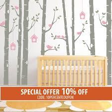home wall stickers  on nursery wall art tree decal with birch tree decal birds wall sticker set baby nursery wall decals