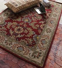 Buy Red Wool Antiquities Hand Tufted Carpet by Vikram Carpets