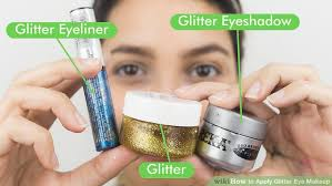 image led apply glitter eye makeup step 1