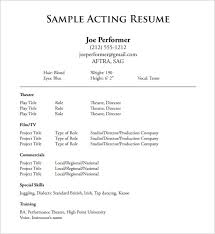 Theatrical Resume Template Free Actor Resume Template Acting Resume  Template 8 Free Word Printable