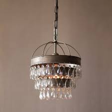 3 tier crystal drop pendant lamp with hanging shade and crystals
