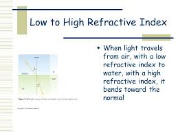 14 low to high refractive index when light travels from air with a low refractive index to water with a high refractive index it bends toward the