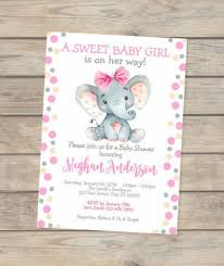 baby girl invite elephant baby shower invitation watercolor elephant custom