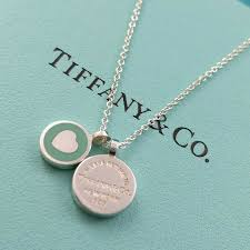 please return to tiffany co double mini blue enamel round charm tag necklace