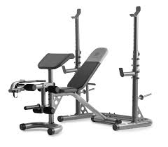 Golds Gym Xrs 20 Adjustable Olympic Workout Bench With Squat Rack Leg Extension Preacher Curl And Weight Storage Walmart Com