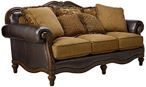 claremore antique living room set. Ashley Furniture Signature Design - Claremore Sofa With 7 Accent Pillows  Traditional Style Ornate Claremore Antique Living Room Set