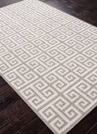 greek key flat wool rug gray zoom