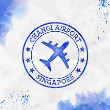 Changi Airport Singapore Logo Airport Stamp Watercolor Vector