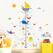 Kids Wall Growth Chart Nursery Height Growth Chart Wall Sticker Kids Boys Girls Underwater Sea Fish Anchor Finding Nemo Decorative Decor Decal Poster Design Wall Stickers