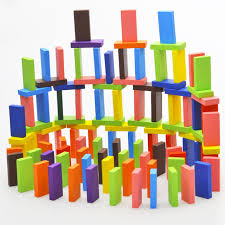 Game Played With Wooden Blocks EFHH 100PcsSet Mix 100 Colors Wooden Kids Children Domino Block 38