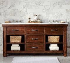 Rustic double bathroom vanity 60 Inch Pottery Barn Benchwright Double Sink Vanity Rustic Mahogany Finish Pottery Barn