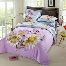 blue and lilac daisy bedding set queen king size bed sheets 3d watercolor fl duvet cover