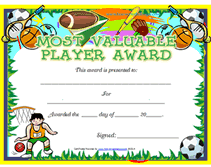mvp award certificates free printable mvp most valuable player awards certificates templates