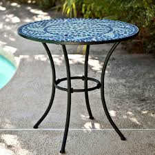 30 inch round metal outdoor bistro patio table with hand laid blue white coffee cmge489