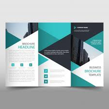 Brochure Template Tri Fold Green Trifold Business Brochure Template With Triangular Shapes